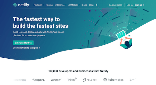 Screenshot for the Netlify website