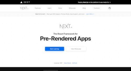 Screenshot for the Next.js website
