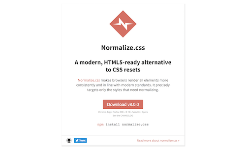 Screenshot for the Normalize.css website