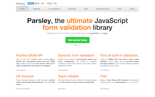 Screenshot for the Parsley website