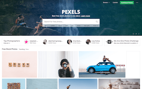 Screenshot for the Pexels website