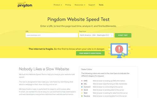 Screenshot for the Pingdom website