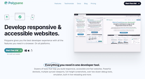 Screenshot for the Polypane website