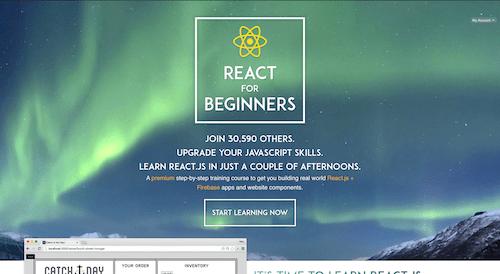 Screenshot for the React for Beginners website