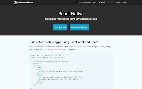 Screenshot for the React Native website