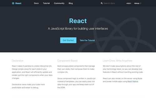 Screenshot for the React website
