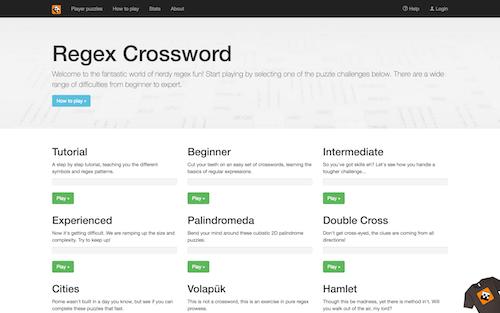Screenshot for the Regex Crossword website