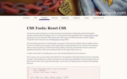 Screenshot for the Reset.css website