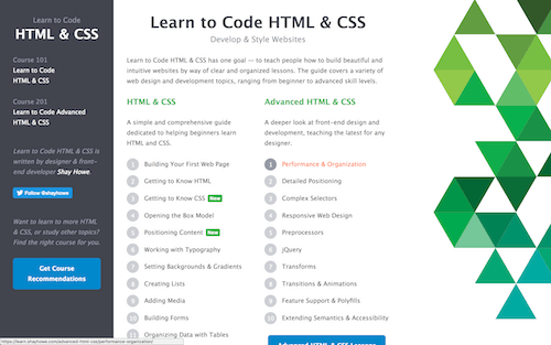 Screenshot for the Shay Howe: Learn HTML & CSS website