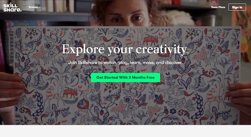 Screenshot for the Skillshare website