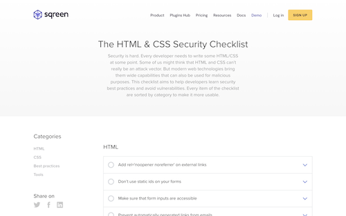 Screenshot for the HTML & CSS Security Checklist website