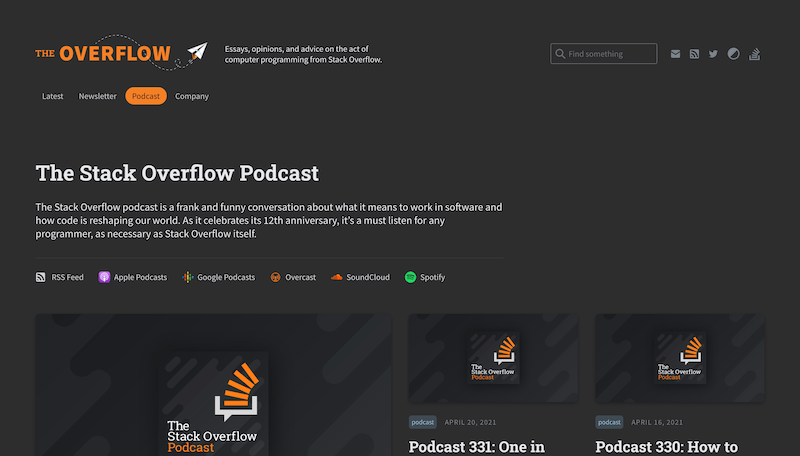 Screenshot for the The Stack Overflow Podcast website