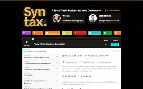 Screenshot for the Syntax website