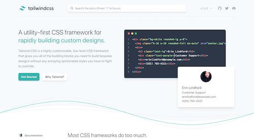 Screenshot for the Tailwind CSS website