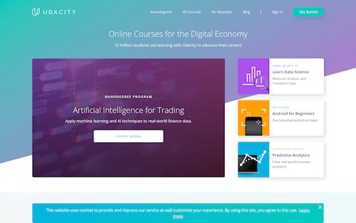 Screenshot for the Udacity website