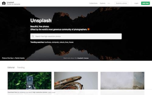 Screenshot for the Unsplash website