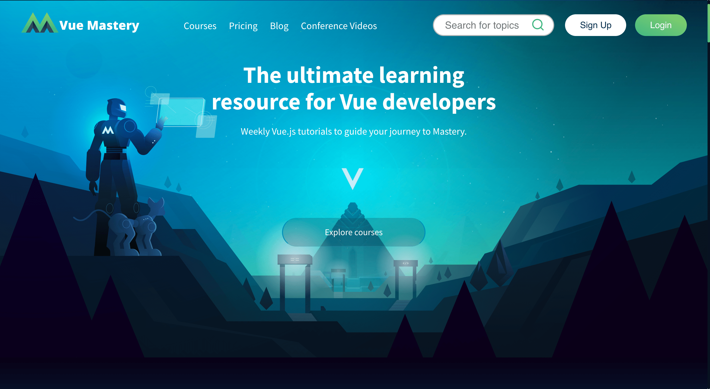 Screenshot for the Vue Mastery website
