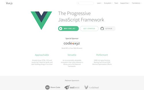 Screenshot for the Vue.js website