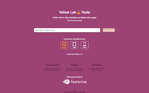 Screenshot for the Yellow Lab Tools website