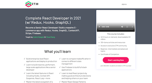 Screenshot for the Complete React Developer in 2021 (w/ Redux, Hooks, GraphQL) website