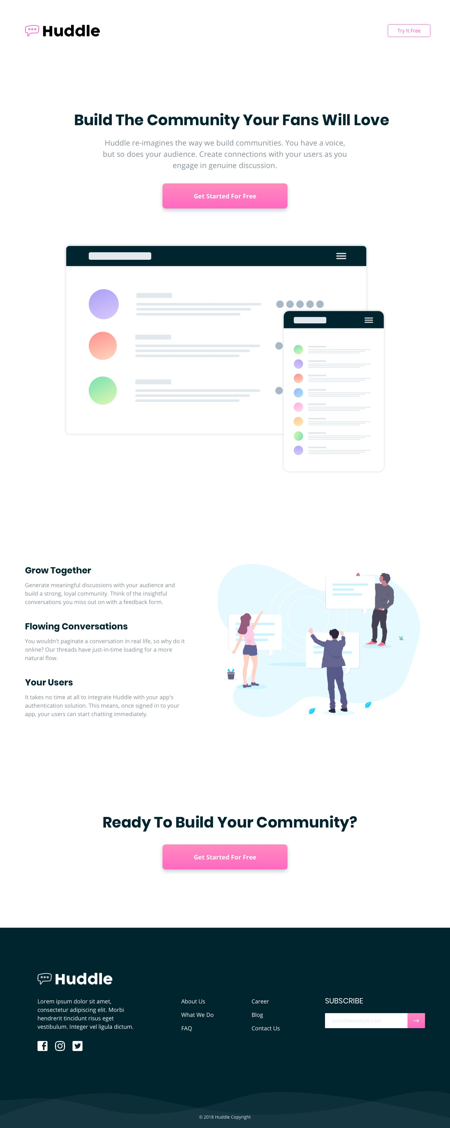 Design preview for Huddle landing page with split benefits section coding challenge