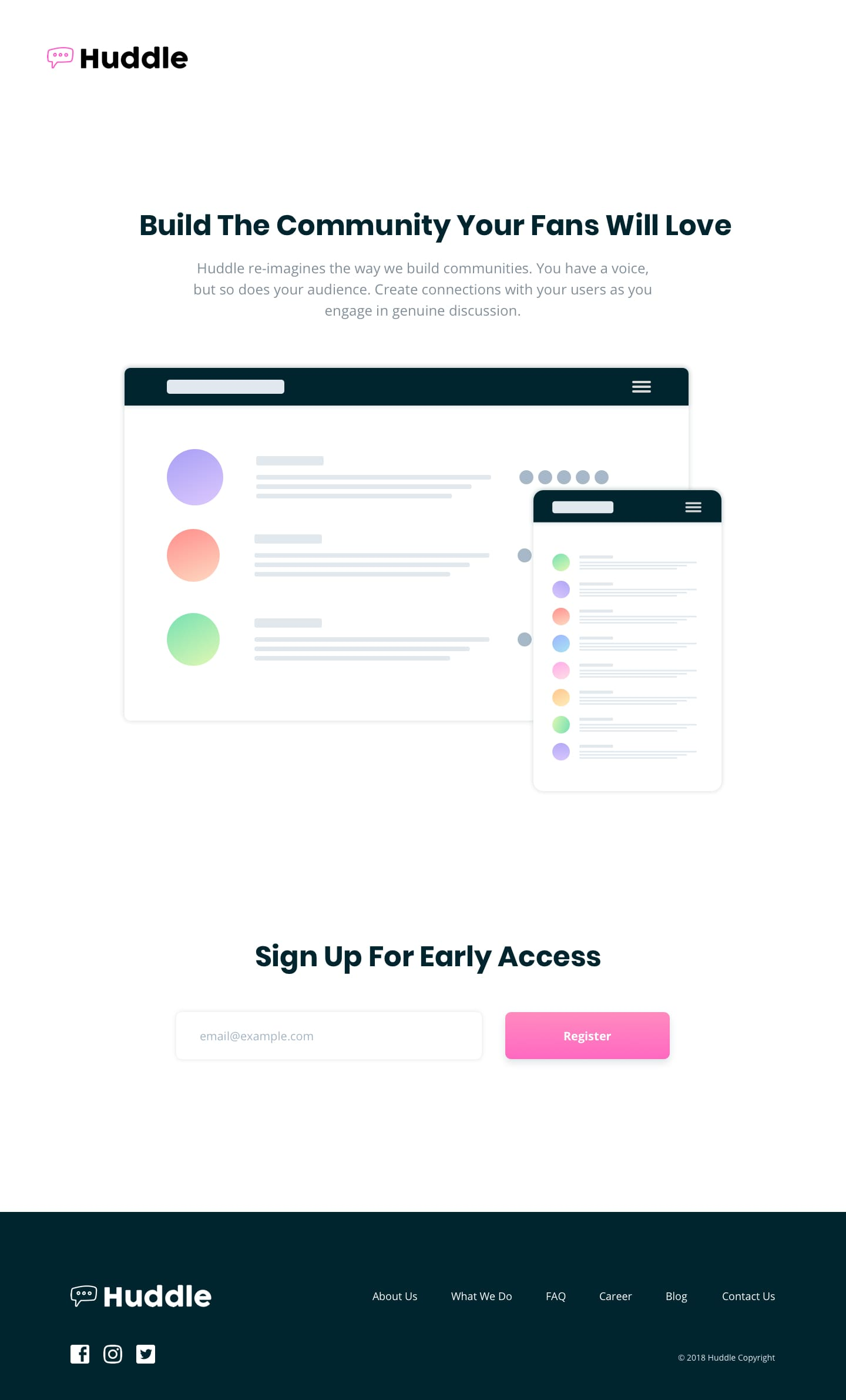 Design preview for Huddle landing page with single column layout coding challenge