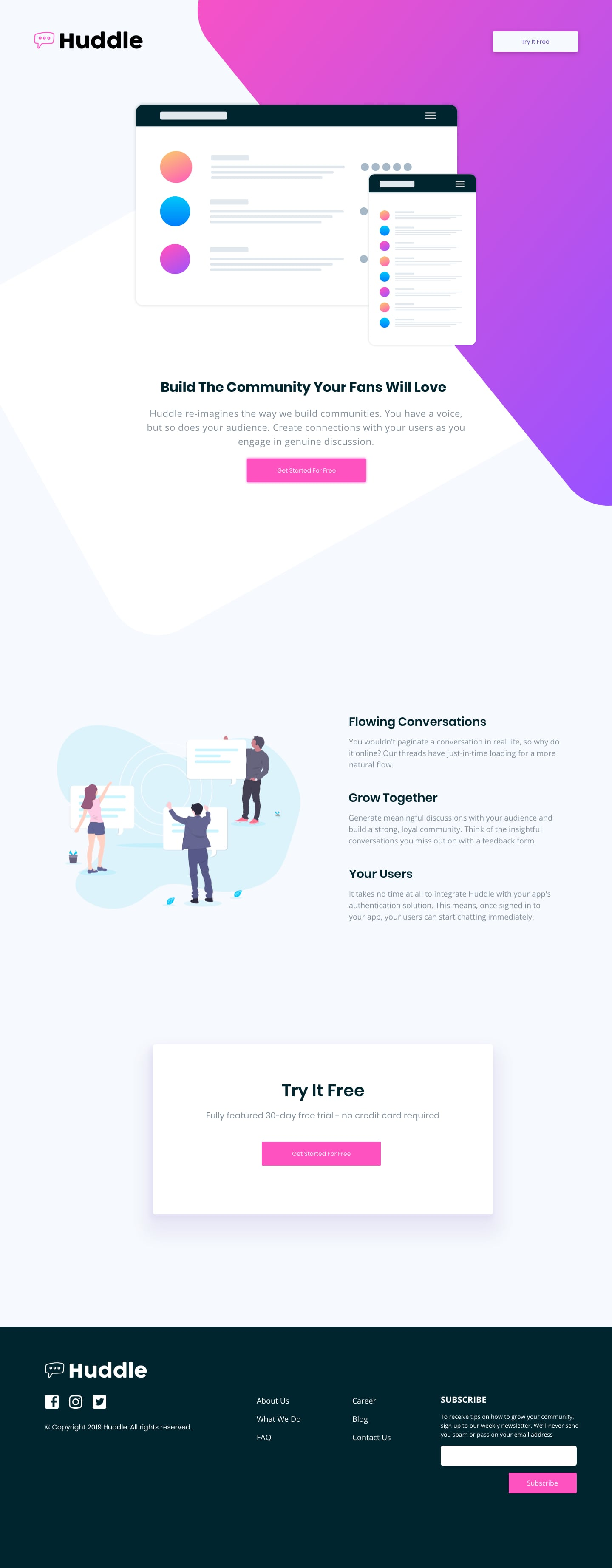 Design preview for Huddle landing page with coded decorative elements coding challenge